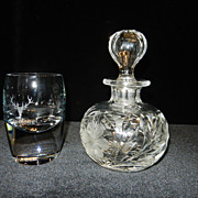 Vintage Cut Glass Pint Decanter with The Dalmore Glass