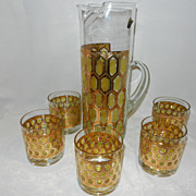 SOLD Vintage Cocktail Mixer & Glasses Beverage Set from West Virginia Glass Co.