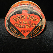 Vintage Gulf Oil Red Top Axle Grease Tin