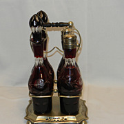 SOLD Vintage Bohemian Ruby Cut to Clear Cruet Set