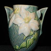 SALE Vintage 1940's Roseville Pottery Clematis Green Vase 102-6