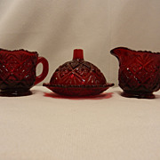 SOLD Vintage Westmoreland Ruby Fan File Children's Set - Red Tag Sale Item