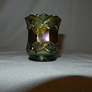 Vintage Original Imperial Helios Green Carnival Glass Toothpick Holder
