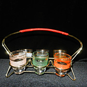 Vintage 1960's Shot Glass Set and Rack