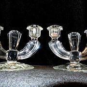 Vintage Crystal Double Candlesticks