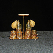 Vintage 24 kt Gold Filigree Lipstick and Perfume Holder