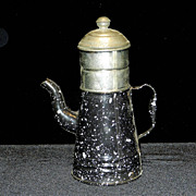 Vintage French Enamelware Coffee Pot- Biggin