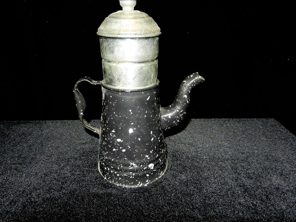 Vintage French Enamelware Coffee Pot Biggin From