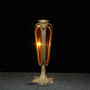 Vintage L & L WMG Beveled Amber Glass 24kt Gold Filigree Vase