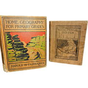 Vintage School Books Geography- Fairbanks and Language Arts - Arnold