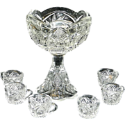 Vintage Pressed Crystal Toy  Hobstar and Pinwheel Punch Bowl and Cups