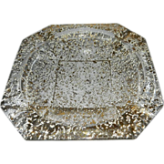 Vintage Large Ashtray with White and 24kt Gold Specks