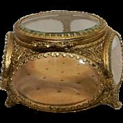 Vintage Ormolu 24 kt Gold 6 Panel Jewelry Casket or Box