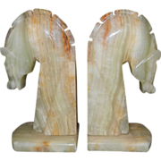 Vintage Hand Carved Banded Onyx Horse Head Bookends