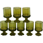 Vintage Franciscan Madeira Olive Green Juice or Wine Glasses