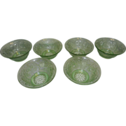 Vintage Tiara Indiana Sandwich Glass Chantilly Green Salad Bowl