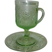 Vintage Tiara Indiana Sandwich Glass Chantilly Green Tall Mug