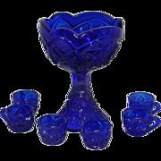 Vintage Child's Cobalt Blue Punch Bowl Set