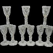 Vintage Libby Rock Sharpe Crystal Cut Arctic Rose or Dover Cordials #3005