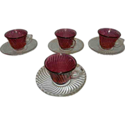 "Vintage Federal Glass Co ""Diana"" pattern Demitasse  Cranberry Swirl Cup and Crystal"