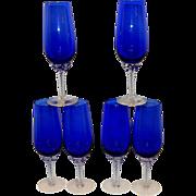 SOLD Vintage Cobalt Blue Champagne Flutes