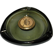 Vintage Green Glass Ashtray with Brass Monogram