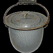 Vintage covered Granite Ware Slop Jar or Chamber Pot