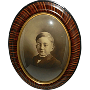 SALE Vintage Tiger Wood Convex Bubble Glass Frame with Portrait of Boy