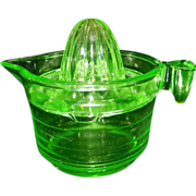Vintage U S Glass Green Uranium Glass Reamer and Measuring Cup