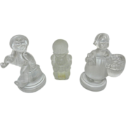 Vintage Goebel Hummel Frosted Glass Figurines: Wandering Boy and Girl with Flower Basket and .