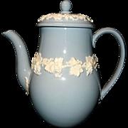 Vintage Wedgwood Embossed Queensware Cream on Lavender Coffee Pot