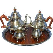 SOLD Vintage Kirk Stieff Pewter Tea and Coffee Service with Rosewood Handles and Tray