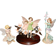 Vintage Border Flower Fairies set Sweet Pea, Candytuft, and Apple Blossom