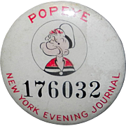 SALE Vintage 1930'S Popeye Pinback Button from New York Evening Journal