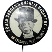 Vintage 1937 Original Issue Charlie McCarthy Pinback Button