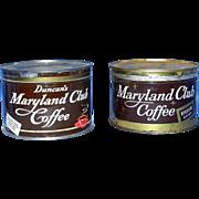 Vintage One Pound Maryland Club Key Wind Coffee Tins