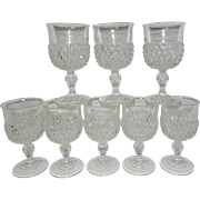Vintage Indiana Glass Diamond Point Water Goblets
