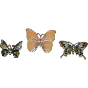 Vintage Butterfly Brooches or Pins- Monet and LC