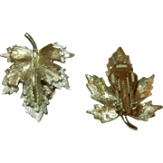 Vintage Sarah Coventry Natures Choice Sarah Sheen Gold and Silver Leaf Clip On Earring Sets
