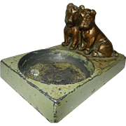 Vintage Spelter Ashtray with Dogs