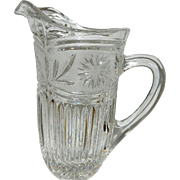 Vintage Crystal Milk Pitcher with Flowers in Frosted Top and Rays