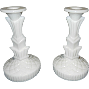 Vintage Decorative Milk Glass Candlesticks