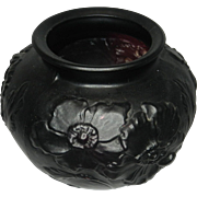 Vintage Tiffin Glass Poppy Flower Black Amethyst Vase