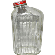 Vintage Ribbed Refrigerator Water Bottle or Jar