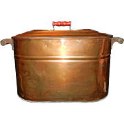 SOLD Antique Revere Large Copper Boiler with Wood Handles