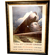 Vintage Leslie Ragan  Lithograph of a Art Deco Era Train New York Central System