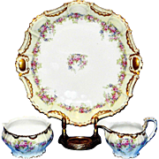 Antique Flambeau Limoges Porcelain Hand Painted Platter-Sugar and Creamer