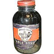 Vintage Anheuser-Busch Cotton Club Table Syrup Glass Jar