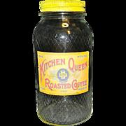Vintage Kitchen Queen Glass Coffee Jar
