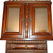 SALE Antique Oak Wall or Medicine Cabinet with Double Doors and Mirrors
